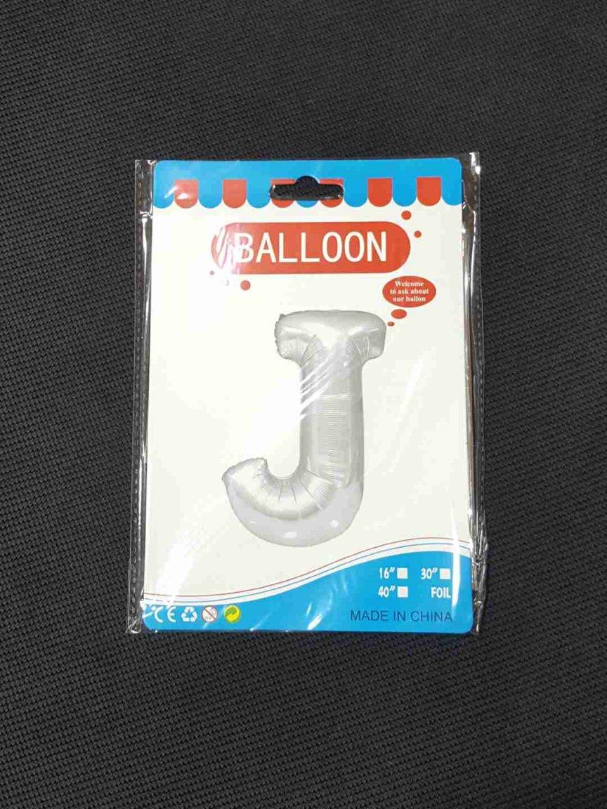 Balon Argintiu Litera J