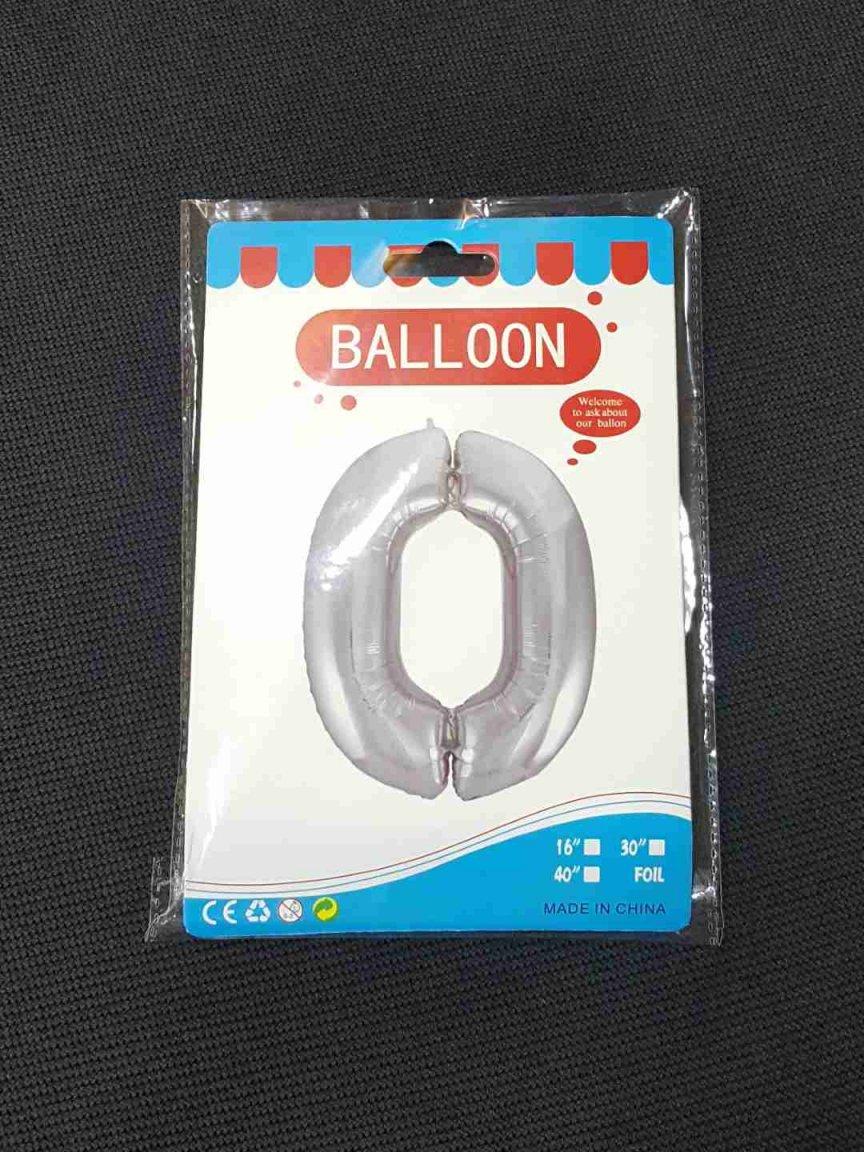 Balon Argintiu Cifra 0