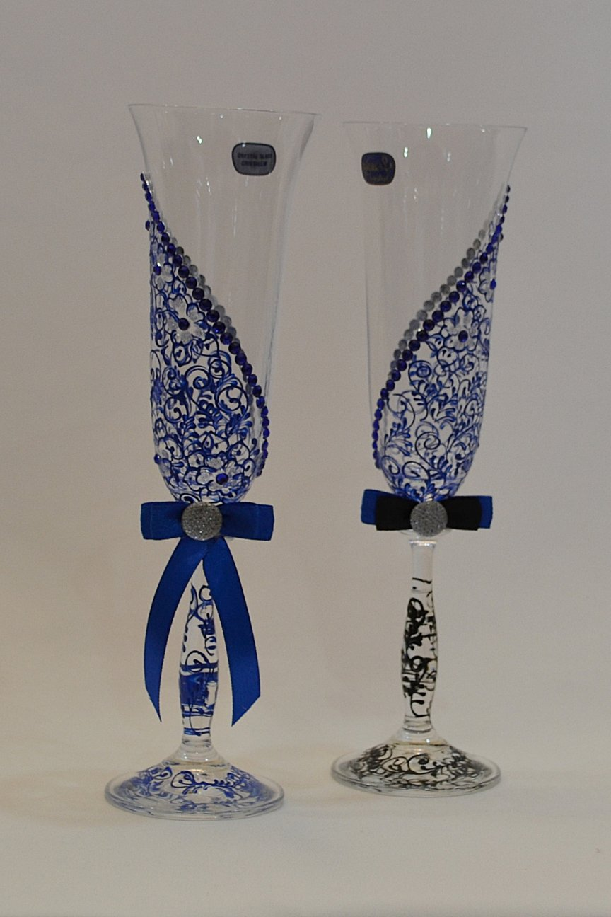 Pahare Cristal albastru