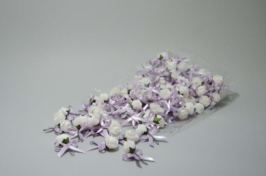 Cocarde trandafir alb+lila