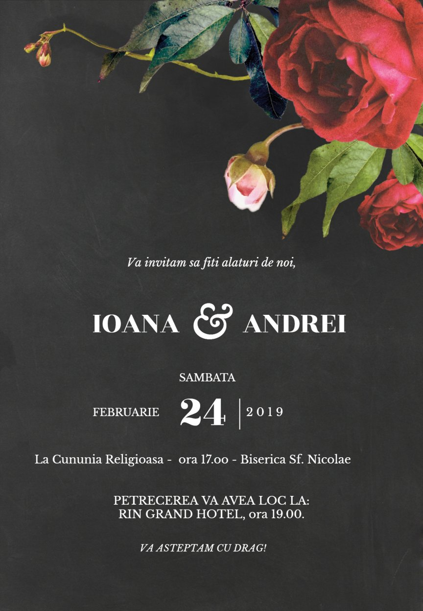 Invitatie Nunta Electronica Trandafiri